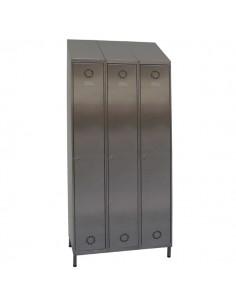 taquillas acero inoxidable 3 puertas 3 columnas