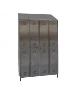 taquillas acero inoxidable 8 puertas 4 columnas