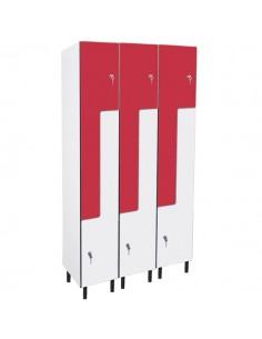 taquillas fenólico en L- 6 puertas 3 columnas